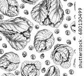 vector hand drawn seamless... | Shutterstock .eps vector #680130499
