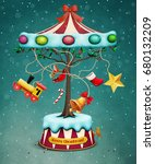 holiday greeting christmas card ... | Shutterstock . vector #680132209