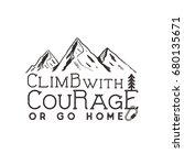 climbing vintage label design.... | Shutterstock . vector #680135671