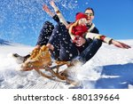young couple sledding and... | Shutterstock . vector #680139664