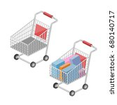 shopping cart isometric style... | Shutterstock .eps vector #680140717