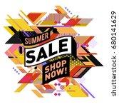 summer sale geometric style web ... | Shutterstock .eps vector #680141629