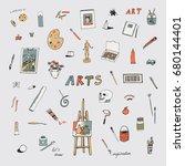 arts doodle vector objects set   Shutterstock .eps vector #680144401