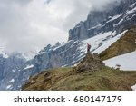 tourist with a backpack in red... | Shutterstock . vector #680147179