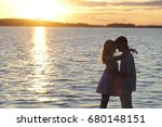 silhouette couple kissing over... | Shutterstock . vector #680148151