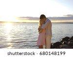 silhouette couple kissing over... | Shutterstock . vector #680148199