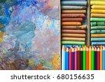 Oil Paints Palette With Paint...