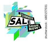 summer sale geometric style web ... | Shutterstock .eps vector #680157031