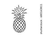 pineapple tropical fruit.... | Shutterstock .eps vector #680163811