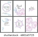 wedding invitation orchid set   ... | Shutterstock .eps vector #680165725