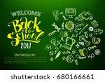 back to school horizontal green ... | Shutterstock .eps vector #680166661