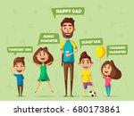 happy family. cartoon vector... | Shutterstock .eps vector #680173861