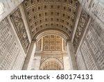 arc de triomphe in paris under... | Shutterstock . vector #680174131