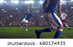 soccer player makes a dramatic... | Shutterstock . vector #680174935