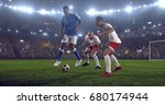 soccer player makes a dramatic... | Shutterstock . vector #680174944