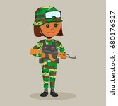 african army woman with rifle | Shutterstock . vector #680176327