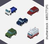 isometric car set of lorry ...
