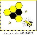 bee and honeycombs  ... | Shutterstock .eps vector #680178121