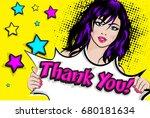 pop art woman with a thank you  ... | Shutterstock .eps vector #680181634