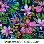 botanical tropical pattern with ... | Shutterstock . vector #680182684
