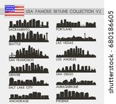 most famous usa cities skyline... | Shutterstock .eps vector #680186605