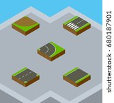 isometric road set of turn ... | Shutterstock .eps vector #680187901