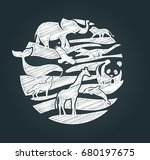 animals icon in the form of a... | Shutterstock .eps vector #680197675