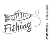 fishing logo isolated on a dark ... | Shutterstock . vector #680198029