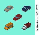 isometric car set of suv ...