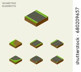 isometric road set of cracks ... | Shutterstock .eps vector #680209657