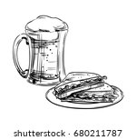 beer in a glass mug and snack ... | Shutterstock .eps vector #680211787