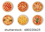 six different pizza set for... | Shutterstock . vector #680220625