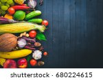large selection of raw... | Shutterstock . vector #680224615