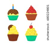 flat cute delicious colorful... | Shutterstock .eps vector #680224801