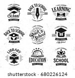 school vector logos set ... | Shutterstock .eps vector #680226124