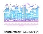 megalopolis  big city life.... | Shutterstock . vector #680230114