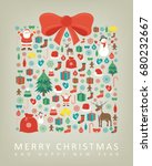 christmas greeting card with... | Shutterstock .eps vector #680232667