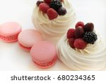 pink macarons and whey dessert | Shutterstock . vector #680234365
