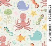 underwater seamless pattern on... | Shutterstock .eps vector #680238121