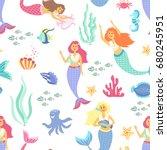 cartoon mermaid seamless...   Shutterstock .eps vector #680245951