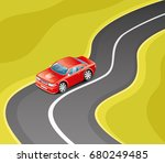 red car on the road. | Shutterstock .eps vector #680249485