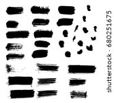 set of vector black paint brush ... | Shutterstock .eps vector #680251675