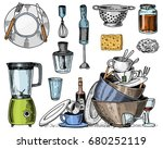 colander  blender and juicer ... | Shutterstock .eps vector #680252119