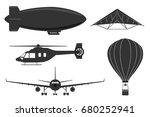 a set of aircraft  an airplane  ...   Shutterstock .eps vector #680252941