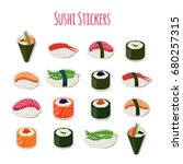 sushi set stickers  labels ... | Shutterstock .eps vector #680257315