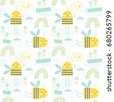 seamless vector pattern  little ... | Shutterstock .eps vector #680265799