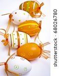 Colored Easter eggs in various colors and with different designs - stock photo