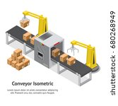 factory conveyor system belt... | Shutterstock .eps vector #680268949
