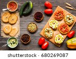 italian bruschetta with cheese  ... | Shutterstock . vector #680269087