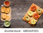 italian bruschetta with cheese  ... | Shutterstock . vector #680269201